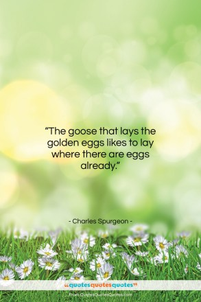 "Charles Spurgeon quote: ""The goose that lays the golden eggs…""- at QuotesQuotesQuotes.com"