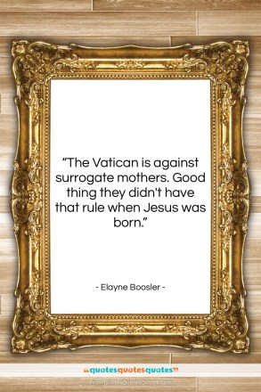 """Elayne Boosler quote: """"The Vatican is against surrogate mothers. Good…""""- at QuotesQuotesQuotes.com"""