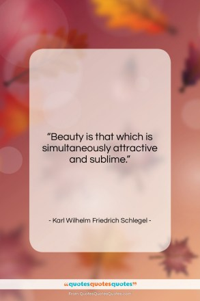"Karl Wilhelm Friedrich Schlegel quote: ""Beauty is that which is simultaneously attractive…""- at QuotesQuotesQuotes.com"