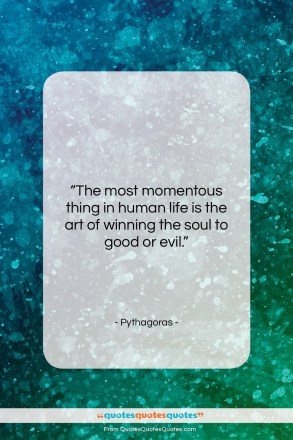 """Pythagoras quote: """"The most momentous thing in human life…""""- at QuotesQuotesQuotes.com"""