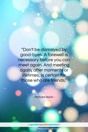 """Richard Bach quote: """"Don't be dismayed by good-byes. A farewell…""""- at QuotesQuotesQuotes.com"""