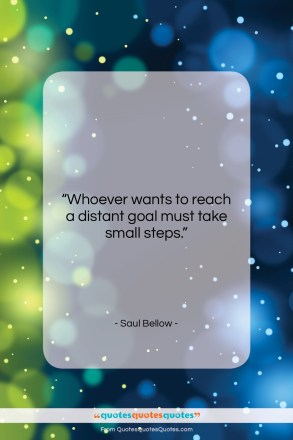 "Saul Bellow quote: ""Whoever wants to reach a distant goal…""- at QuotesQuotesQuotes.com"