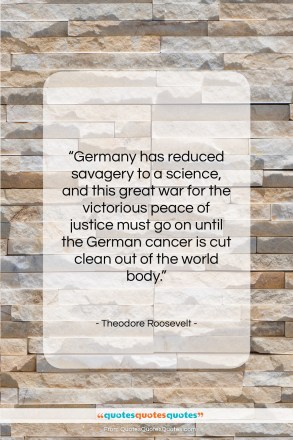 "Theodore Roosevelt quote: ""Germany has reduced savagery to a science,…""- at QuotesQuotesQuotes.com"