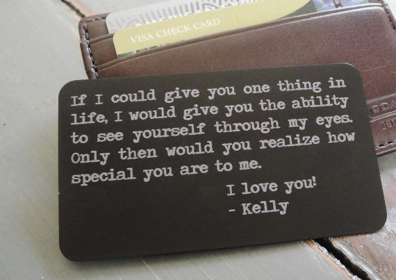 Long Distance Quotes Engraved Wallet Insert Personalized