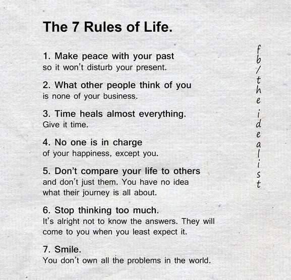 Inspirational Quotes On Life: Inspirational Positive Quotes :The 7 Rules Of Life