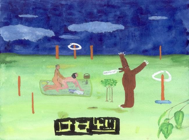 John Lurie painting Bear Surprise