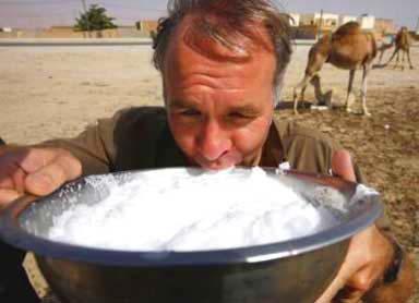سائح اجنبي يشرب حليب الإبل