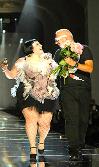 Gaultier with Beth Ditto, longtime muse and friend of the designer.