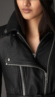 Zip Detailed Biker Leather Jacket 3