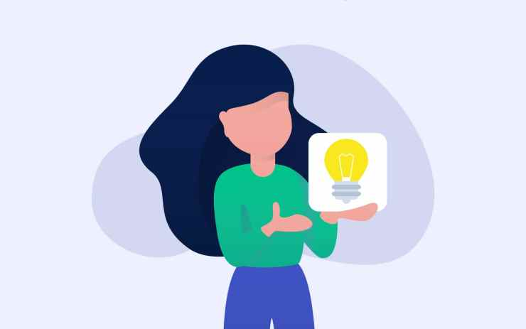 """An image of a woman holding a lightbulb and the title saying """"Updating your content marketing strategy for 2020"""""""
