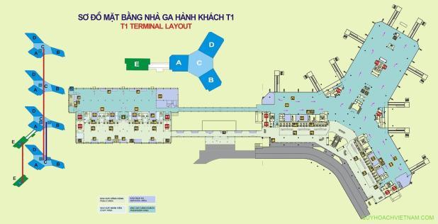 Bản đồ sân bay nội bài nhà ga T1 tầng 2