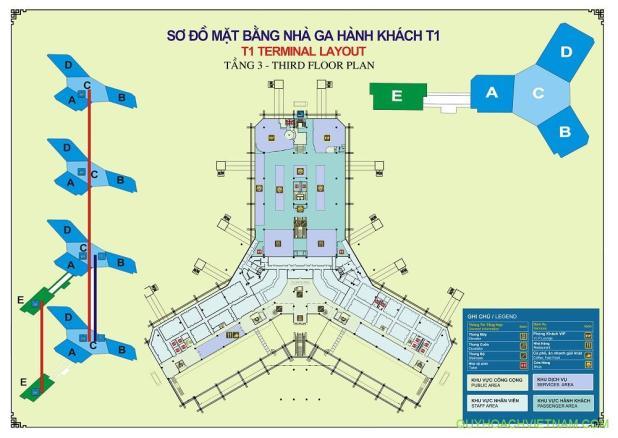 Bản đồ sân bay nội bài nhà ga T1 tầng 3