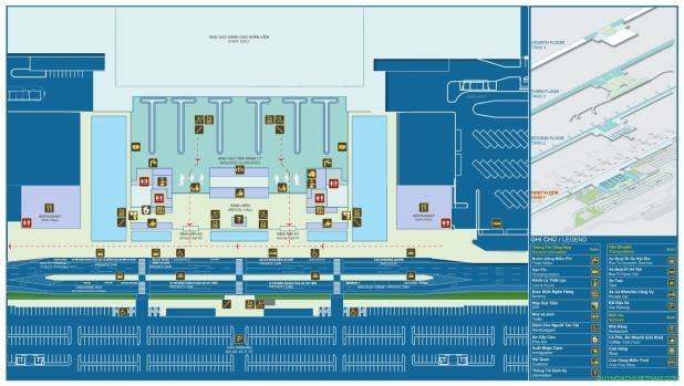 Bản đồ sân bay nội bài nhà ga T2 tầng 1