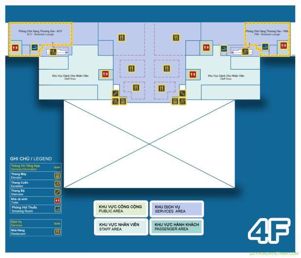 Bản đồ sân bay nội bài nhà ga T2 tầng 4