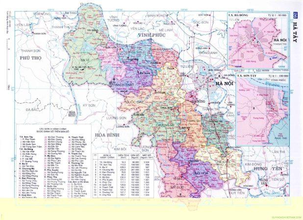 Bản đồ tỉnh Hà Tây cũ