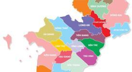 Bản đồ các tỉnh Miền Nam của Việt Nam