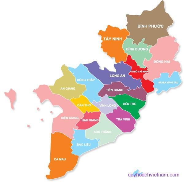 Bản đồ các tỉnh Miền Nam