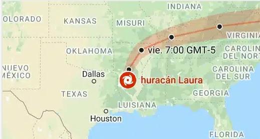 Trayectoria del huracán Laura después de tocar tierra