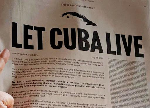 New York Times por el cese del bloqueo contra Cuba