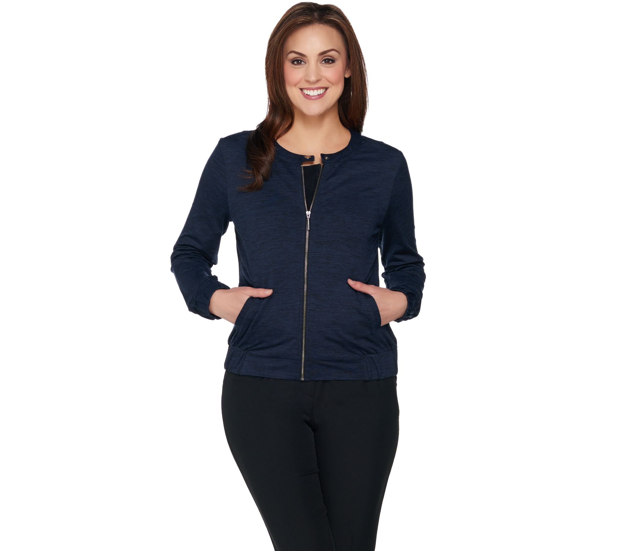 Favorite things. You'll be adding this H by Halston bomber jacket to your favorites list. Page 1 QVC.com