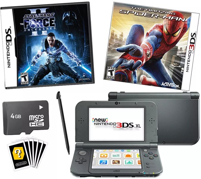 New Nintendo 3DS XL Bundle with Star Wars and Spiderman Games     QVC com