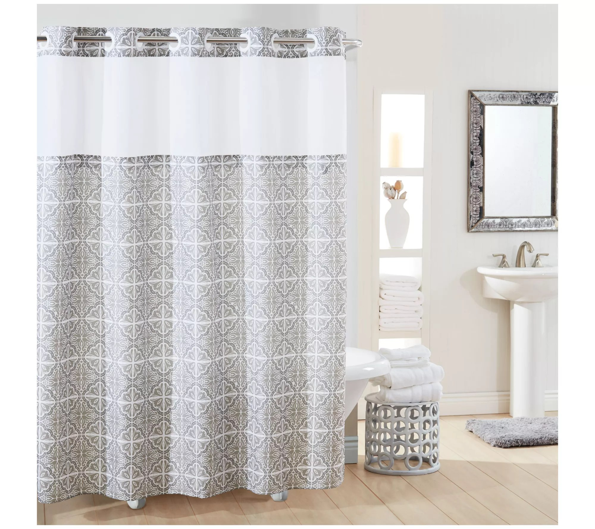 hookless missioi plain weave shower curtain with peva liner qvc com