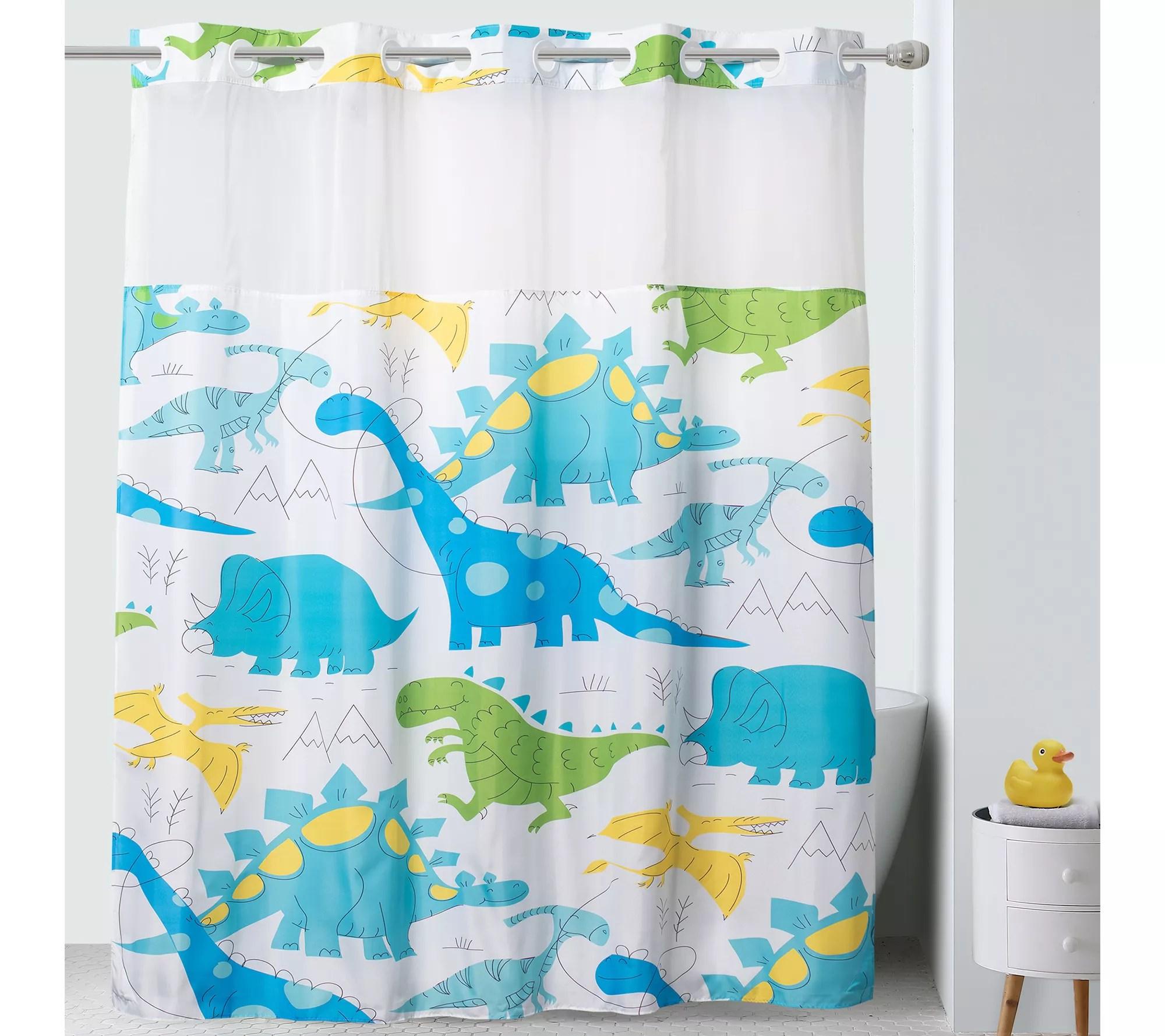 hookless shower curtain for kids dinosaur patt ern qvc com