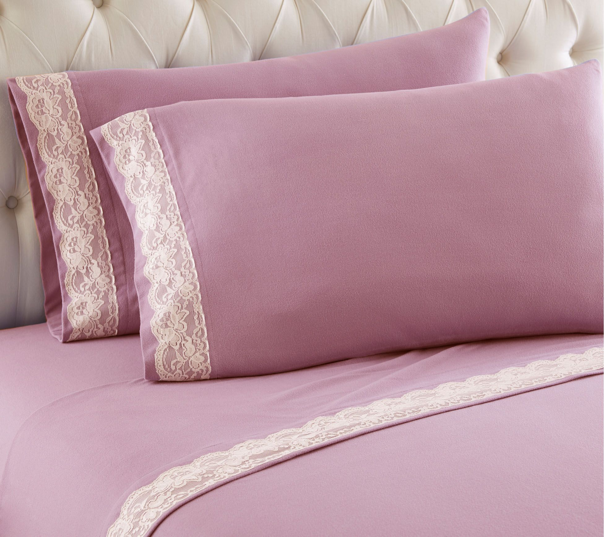 Shavel Micro Flannel Lace Edged Queen Sheet Set