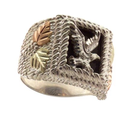 Black Hills Mens Eagle Onyx Ring Sterling12KGold Page