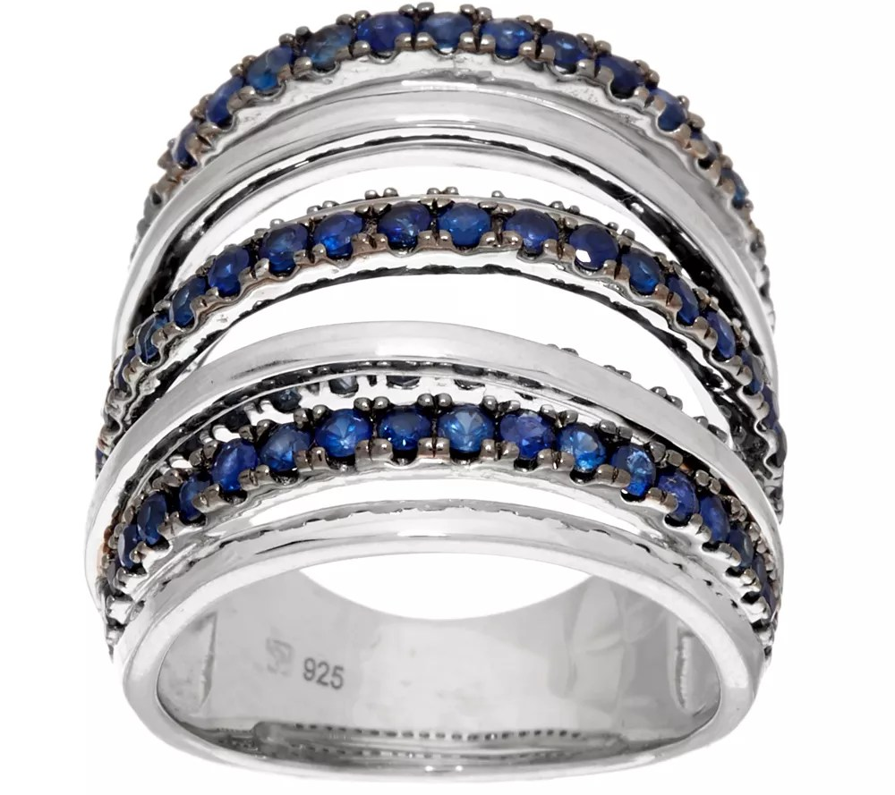 As Is Sterling Silver Blue Or Pink Sapphire Wide Band