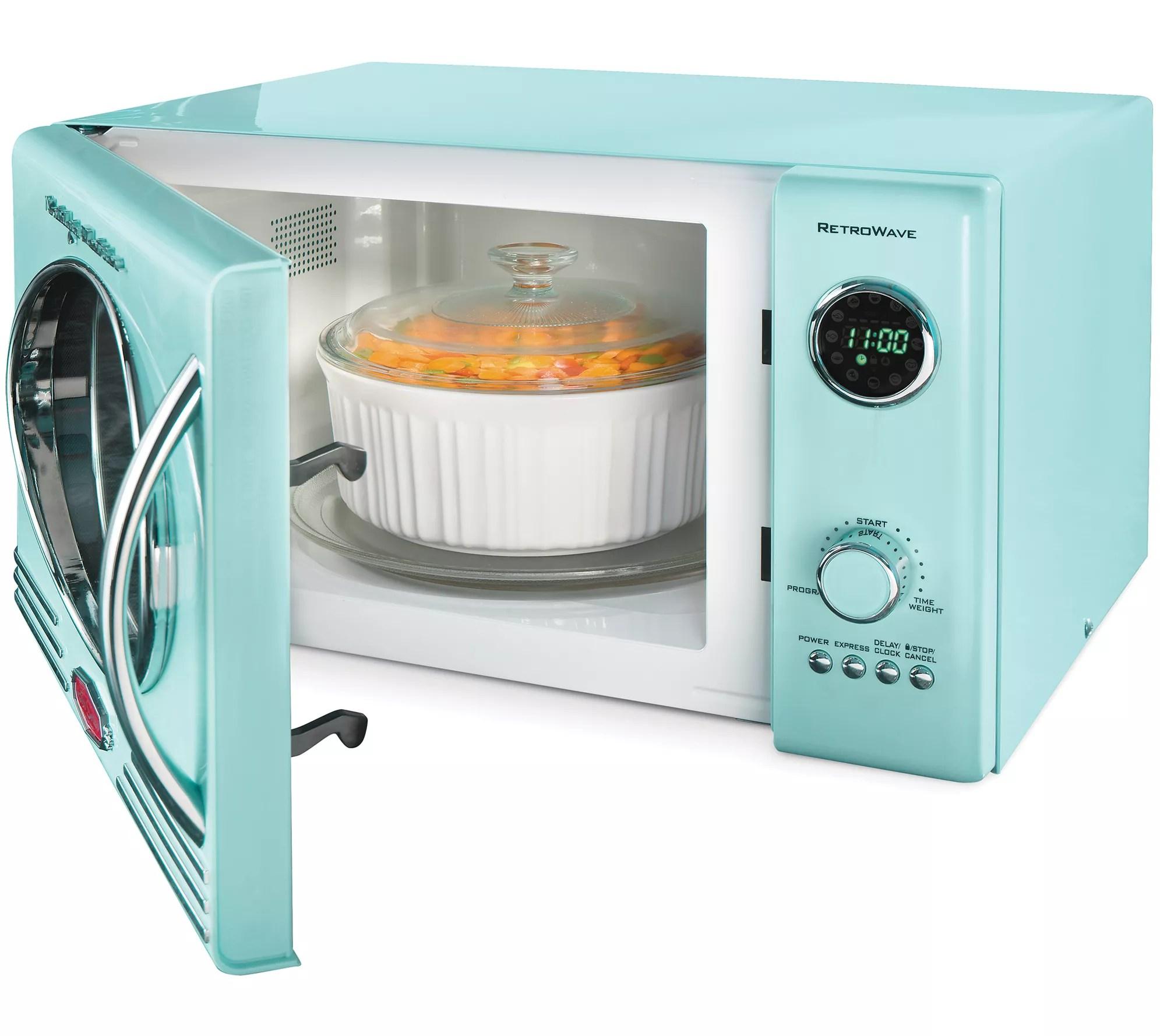 nostalgia electrics retro series 0 9 cu ft microwave oven qvc com