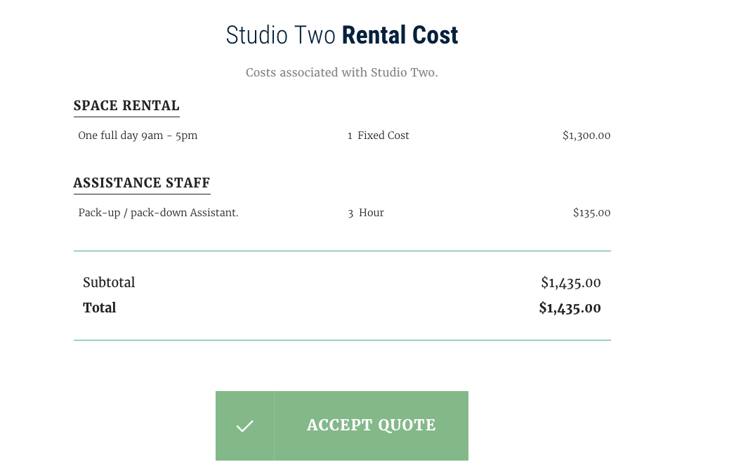 Business proposal screenshot – Quote approximate cost
