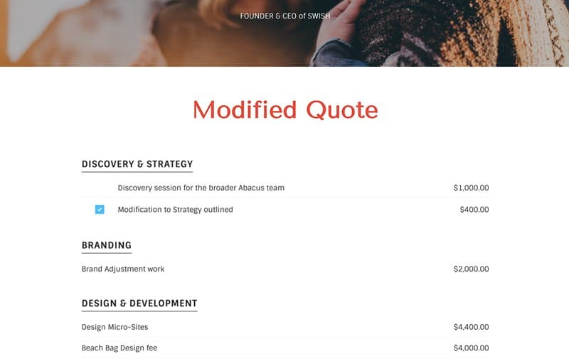 Marketing Adjustment Quote Template