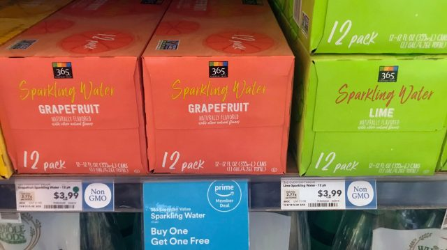 A deal for Amazon Prime members on 365 sparkling water at Whole Foods in Berkeley, California.