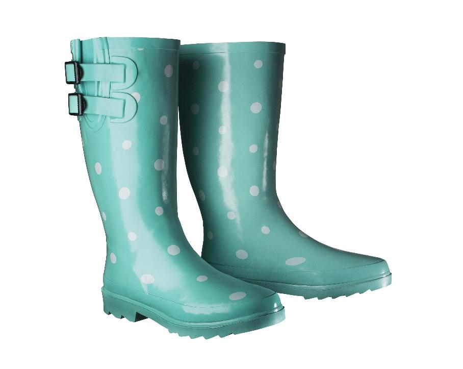 Teal Polka Dot Rain Boots