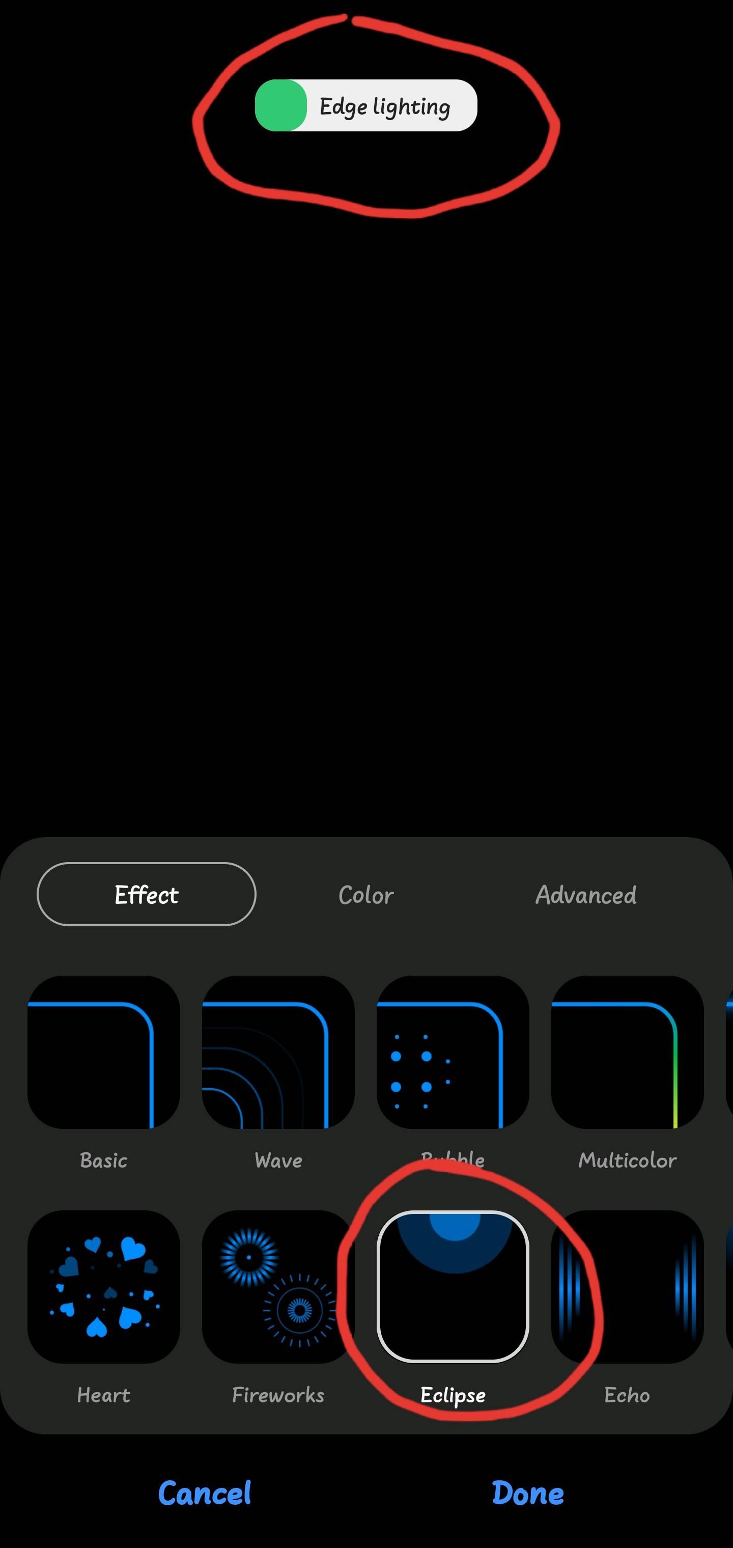 one ui 2 0 edge lighting issue