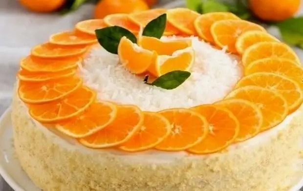 Как украсить домашний торт мандаринами