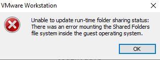 VMware Unable to update run-time folder sharing status