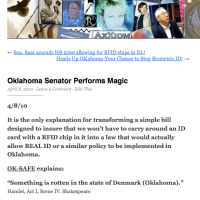 Axxiom: Oklahoma Senator Performs Magic - Calls Needed to Block RFID chips in DLs