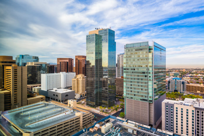 Beautiful aerial view of downtown Phoenix in Arizona