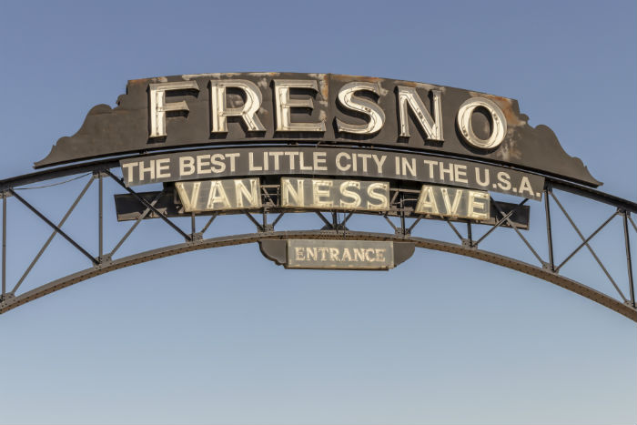 Sign at entrance to downtown Fresno, California