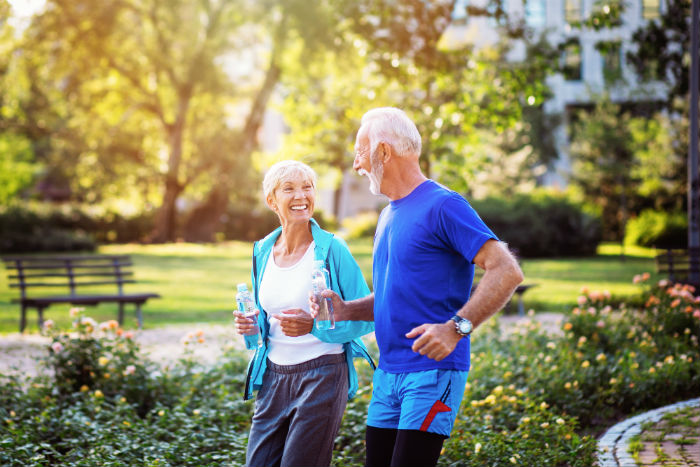 Senior couple running in a Tallahassee park