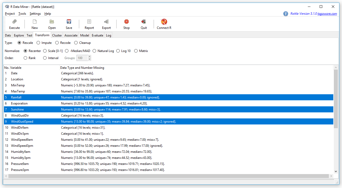 Review of the Rattle GUI for R   r4stats com
