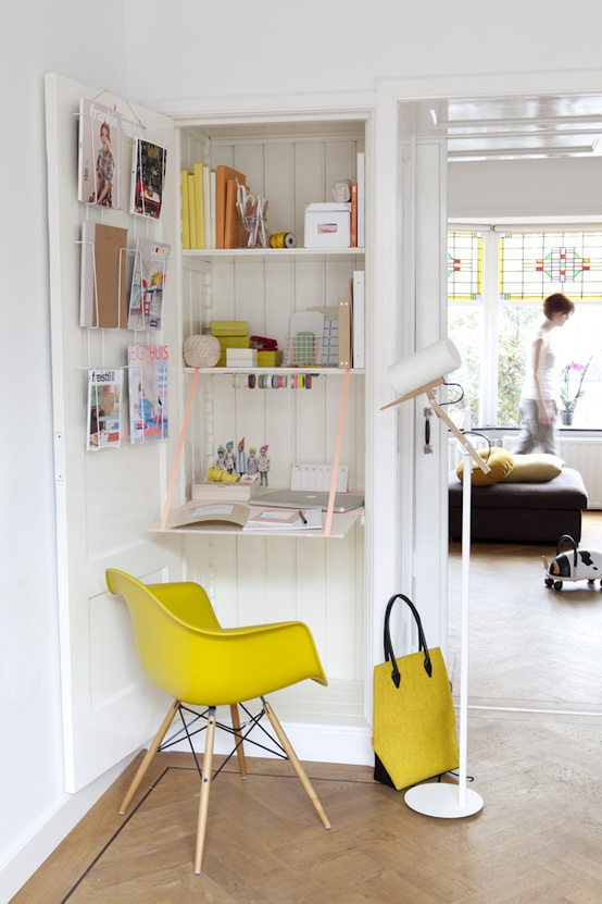 Hiding home office - very cool idea if you do not have much space