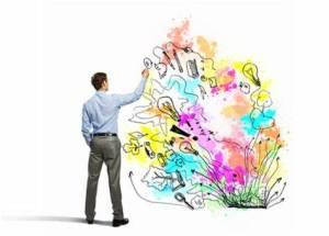 Image of man doodling creative image.