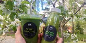 Spinat smoothie og eple juice