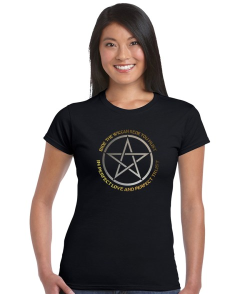 bide the wiccan rede ladies pagan shirt