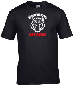 cameras not guns tiger men's shirt