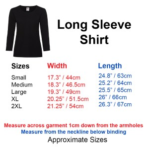 ladies long sleeve shirt sizes