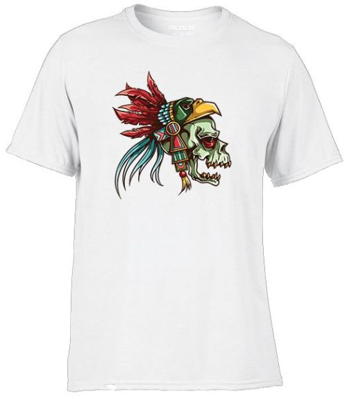skull with eagle headdress tattoo style shirt